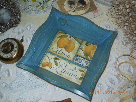 """Кухня ручной работы. Ярмарка Мастеров - ручная работа. Купить """"Лимонная пастила"""" сухарница. Handmade. Синий, желтый"""