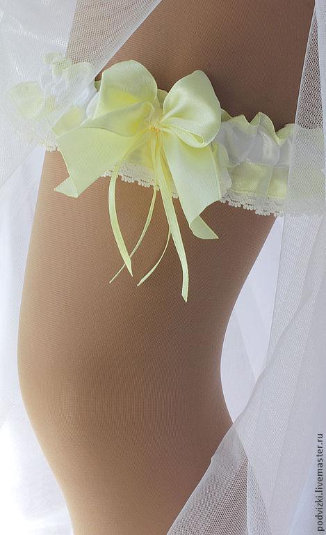 Подвязка для невесты `Лимонная`