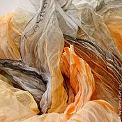Аксессуары ручной работы. Ярмарка Мастеров - ручная работа Дизайнерский платок «Желтый и Серый» батик шелк 100%. Handmade.