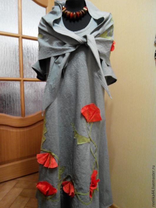 """Платья ручной работы. Ярмарка Мастеров - ручная работа. Купить Платье в пол из хлопка с шалью""""Маки"""". Handmade. Платье летнее"""