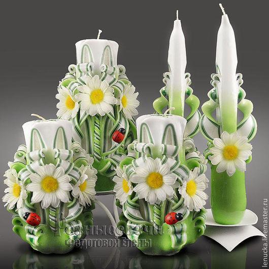 Резные свечи коллекция Русское поле. Комплект резных свечей Русское поле. Свечи резные. Свечи интерьерные.