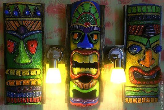 """Освещение ручной работы. Ярмарка Мастеров - ручная работа. Купить Настенный светильник """"Маски"""".. Handmade. Разноцветный, африканские мотивы"""