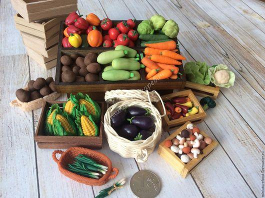 Фото еды для кукол, фото кукольных овощей, фото миниатюрных овощей, еда в кукольный домик