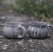 """Посуда ручной работы. Ярмарка Мастеров - ручная работа Кружки из белой глины """"Луна"""". Раку керамика. Handmade."""
