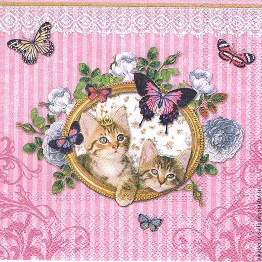 Декупаж и роспись ручной работы. Ярмарка Мастеров - ручная работа. Купить Королевские котята на розовом (13307930) 33х33 салфетка для декупажа. Handmade.