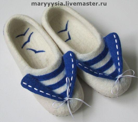 """Обувь ручной работы. Ярмарка Мастеров - ручная работа. Купить тапочки """"морячка"""". Handmade. Валяние, натуральная кожа"""