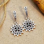 Украшения handmade. Livemaster - original item Star of the Archgamme with Cubic Zirconia Earrings. Silver 925. art. .1121602. Handmade.