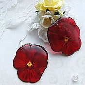 Украшения handmade. Livemaster - original item Transparent Resin Earrings from Cherry Pansy Earrings Flowers Boho. Handmade.