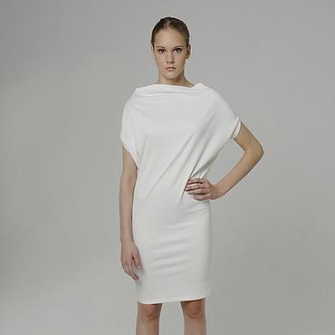 Одежда ручной работы. Ярмарка Мастеров - ручная работа Платье белое повседневное трикотажное из джерси эффектное нарядное. Handmade.