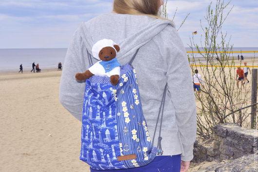 Женские сумки ручной работы. Ярмарка Мастеров - ручная работа. Купить На МОРЕ... тедди+рюкзак. Handmade. Синий, sava dama