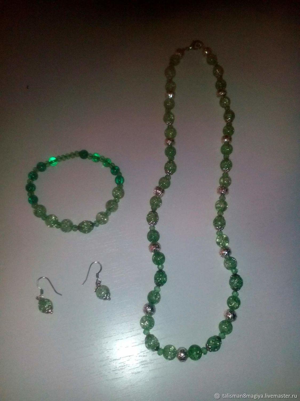 Long Earrings beads necklace bracelet pendant Snow quartz multi-colored, Jewelry Sets, Naro-Fominsk,  Фото №1