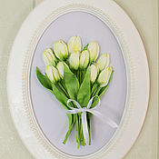 Pictures handmade. Livemaster - original item Picture ribbons Bouquet in an oval frame.. Handmade.