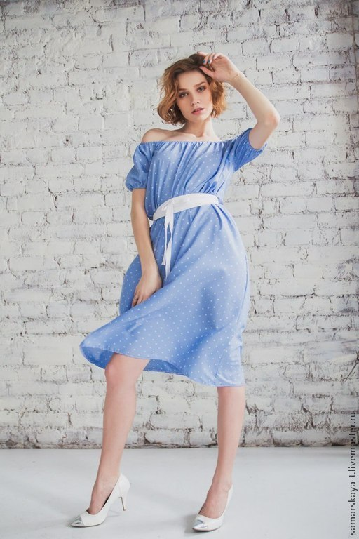 Платья ручной работы. Ярмарка Мастеров - ручная работа. Купить Платье цвета неба.. Handmade. Голубой, летнее платье