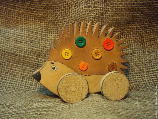 Ёжик-каталка, деревянная игрушка ручной работы, декорированный