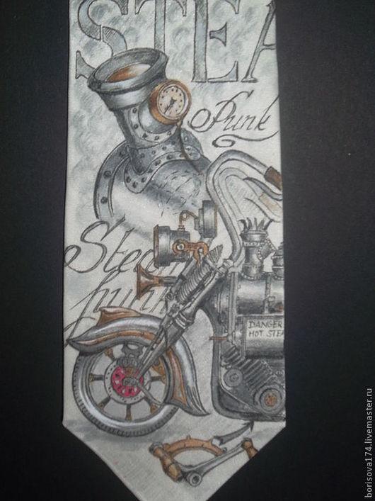 """Галстуки, бабочки ручной работы. Ярмарка Мастеров - ручная работа. Купить Галстук """"Steampunk"""". Handmade. Рисунок, галстук батик, надпись"""