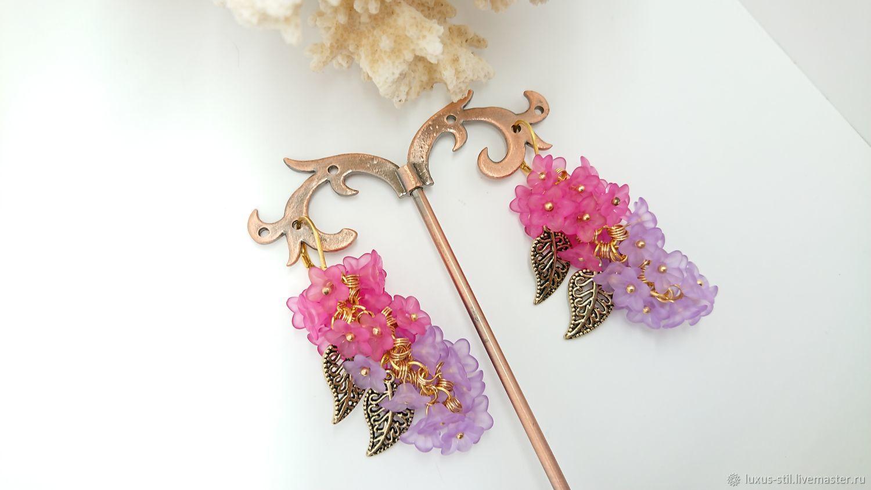 Earrings clusters of lilac long, Earrings, Podolsk,  Фото №1