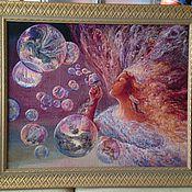 Картины и панно ручной работы. Ярмарка Мастеров - ручная работа HAED Bubble Flower / Воздушная фантазия (счётный крест). Handmade.