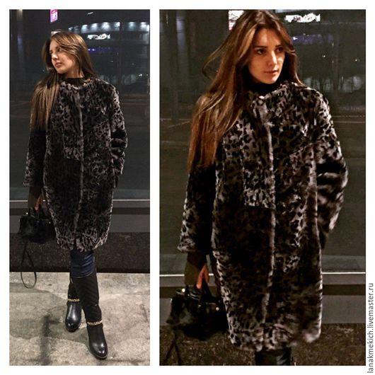 """Верхняя одежда ручной работы. Ярмарка Мастеров - ручная работа. Купить меховое пальто- кокон  из цигейки """"Барс"""". Handmade."""