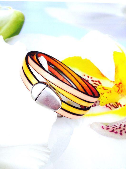 """Браслеты ручной работы. Ярмарка Мастеров - ручная работа. Купить Браслет из натуральной кожи """"Нежность"""". Handmade. Желтый цвет, браслет"""