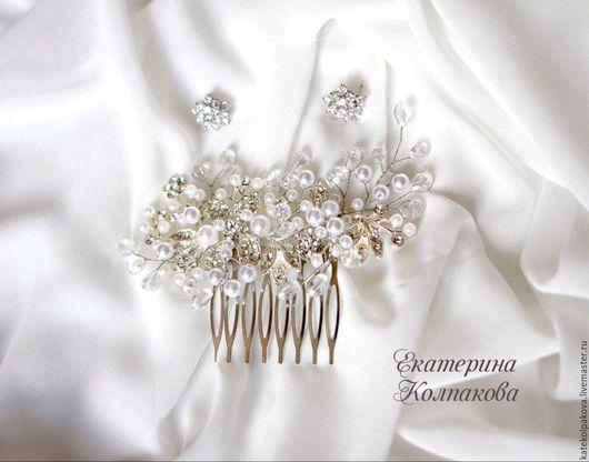 """Свадебные украшения ручной работы. Ярмарка Мастеров - ручная работа. Купить Гребень """"Хрустальный лепесток"""". Handmade. Белый, гребень для невесты"""