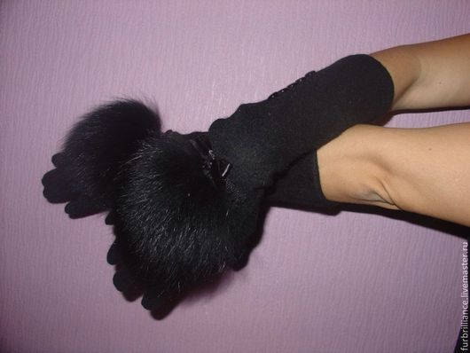Варежки, митенки, перчатки ручной работы. Ярмарка Мастеров - ручная работа. Купить Перчатки удлиненные с мехом черного песца. Handmade.