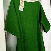 Одежда ручной работы. Ярмарка Мастеров - ручная работа Платье-размахайка  оверсайз льняное Изумруд2. Handmade.