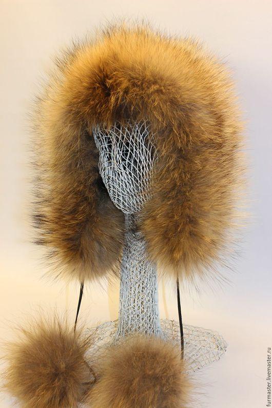 """Шапки ручной работы. Ярмарка Мастеров - ручная работа. Купить эскимоска """"енотовидная собака"""". Handmade. Желтый, мех енота"""