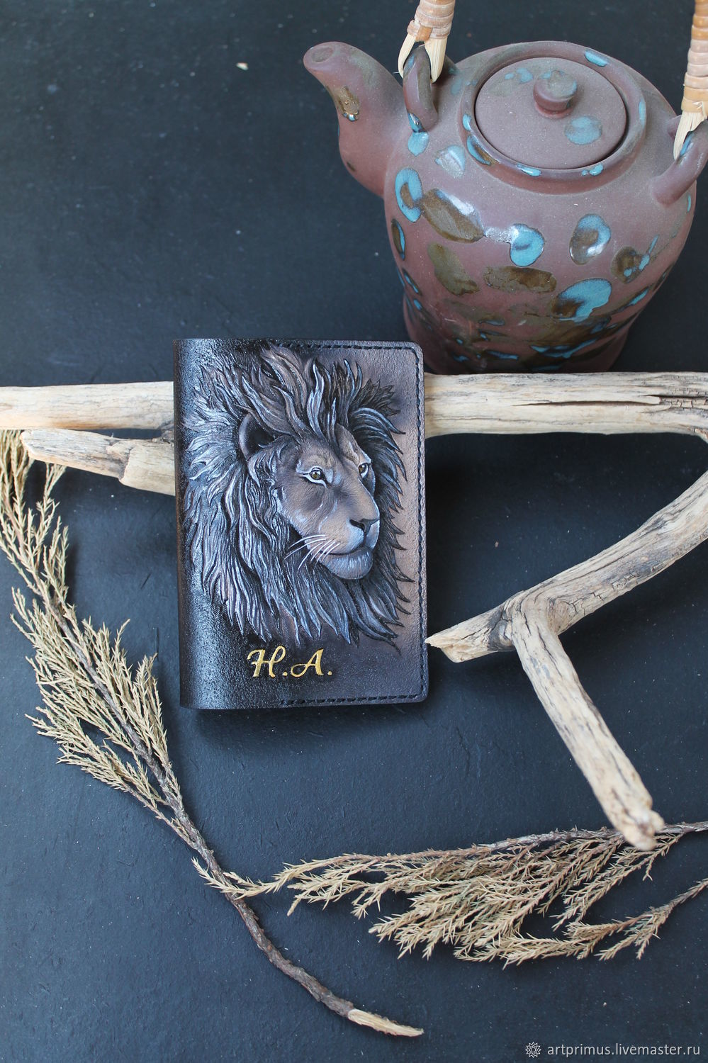 Leather passport cover 'lion' hand-stamped, painted, Passport cover, Voronezh,  Фото №1