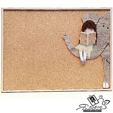 Картины и панно ручной работы. Ярмарка Мастеров - ручная работа Доска для записей «Девочка и слон». Handmade.