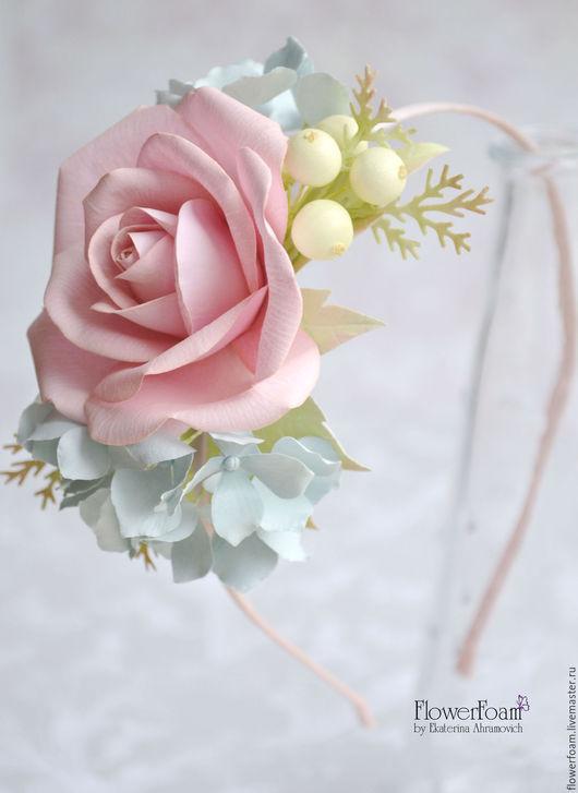 Диадемы, обручи ручной работы. Ярмарка Мастеров - ручная работа. Купить Ободок с розой, гортензией, ягодами в стиле Шебби Шик. Цветы из фома.. Handmade.