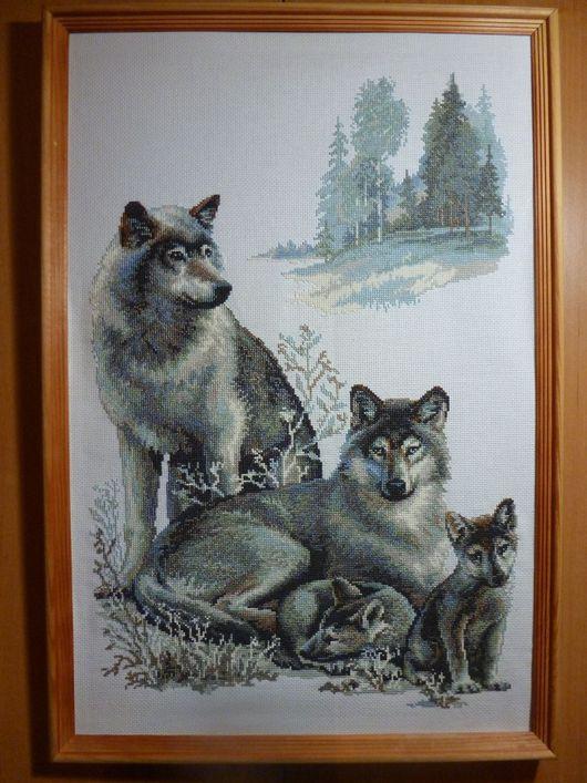 Животные ручной работы. Ярмарка Мастеров - ручная работа. Купить Волки. Handmade. Картина, волчонок, волки, канва zweigart