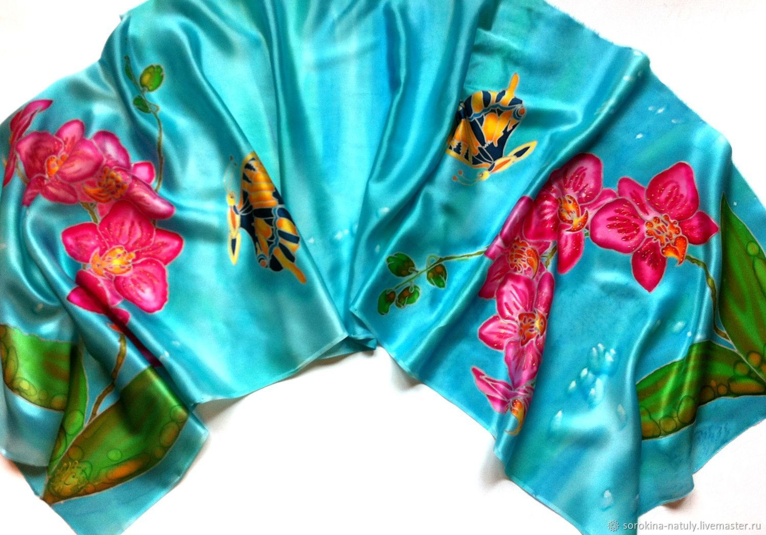 Buy Batik stole Orchids to Buy a gift Gift teacher gifts for women Gift girl Women's scarf Turquoise Manual author's work Shawl