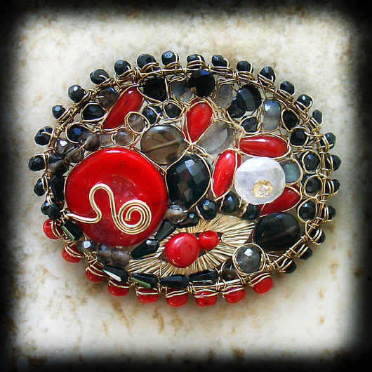 Brooches handmade. Livemaster - handmade. Buy Brooch 'the passion of flamenco'.Bright red, gold, passion, love
