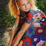 """Одежда ручной работы. Ярмарка Мастеров - ручная работа Платье """"Яркая мозаика"""" спицами из хлопка/полиамида. Handmade."""