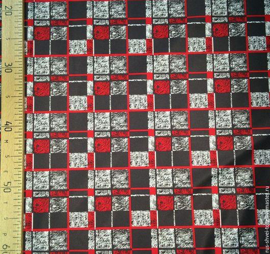Ткань курточная 240Т PONGEE WR PU MILKY. Рисунок `Красные квадраты`