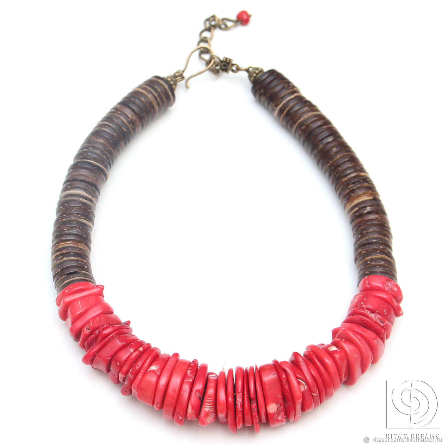 Necklace with large coral red coral red coral beads, Necklace, Orel,  Фото №1