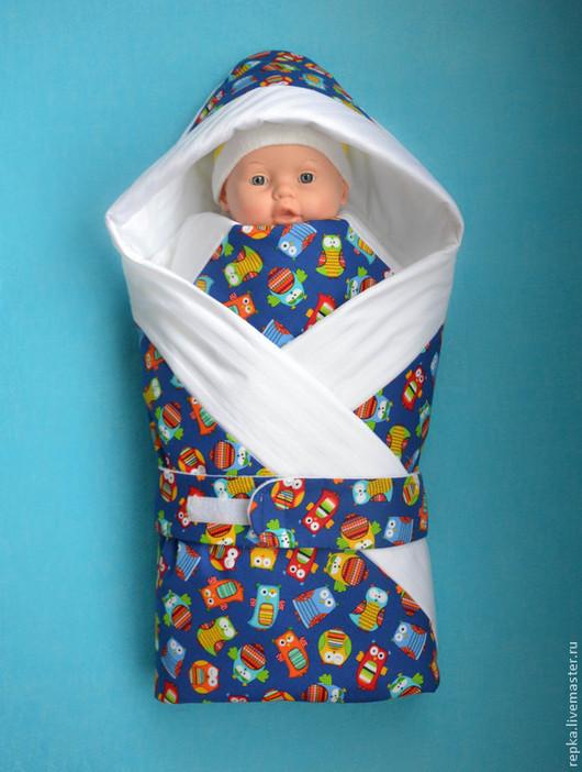 Для новорожденных, ручной работы. Ярмарка Мастеров - ручная работа. Купить Одеяло с капюшоном. Handmade. Рисунок, конверт на выписку, хлопок