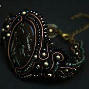 Украшения ручной работы. Ярмарка Мастеров - ручная работа Сутажный браслет с камнем Dragon черный зеленый коричневый. Handmade.