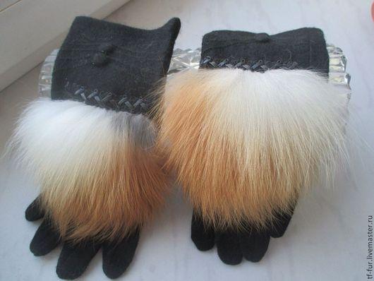 Варежки, митенки, перчатки ручной работы. Ярмарка Мастеров - ручная работа. Купить Классические перчатки с мехом лисы. Handmade. Черный