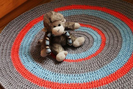 """Детская ручной работы. Ярмарка Мастеров - ручная работа. Купить коврик вязаный детский """"Летнее утро"""". Handmade. Голубой"""