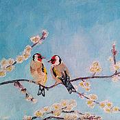 Картины ручной работы. Ярмарка Мастеров - ручная работа Щеглы на абрикосовом дереве. Handmade.