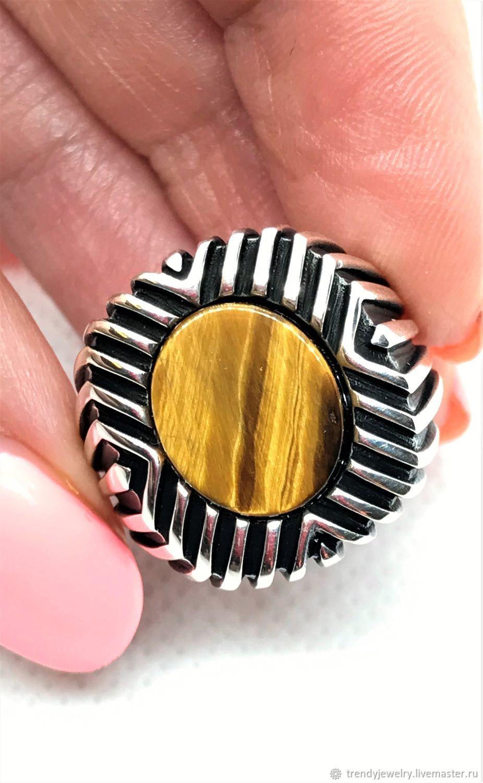 Тигровый глаз кольцо, перстень, печатка мужская из серебра 925 пробы, Кольцо-печатка, Москва,  Фото №1