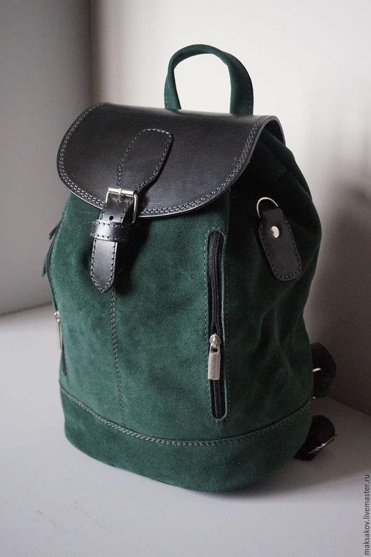 Рюкзаки ручной работы. Ярмарка Мастеров - ручная работа. Купить Рюкзак из зелёного нубука 31 см. Handmade. Тёмно-зелёный