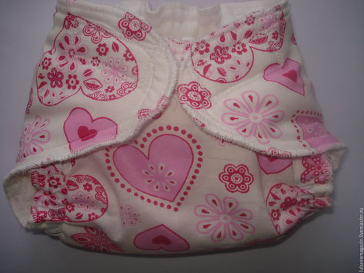 Одежда ручной работы. Ярмарка Мастеров - ручная работа. Купить Многоразовый памперс для новорожденного(розовые сердечки). Handmade. Памперсы, для новорожденного, новорожденным