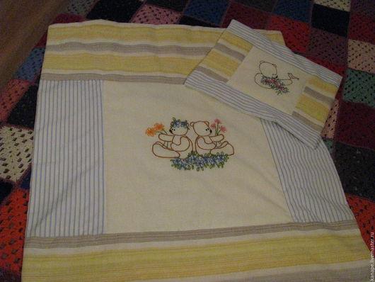 Аксессуары для колясок ручной работы. Ярмарка Мастеров - ручная работа. Купить Детское одеялко и подушка. Handmade. Голубой, Крестины