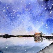 """Картины и панно ручной работы. Ярмарка Мастеров - ручная работа Картина акварелью """"Звездное небо"""". Handmade."""