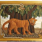 """Картины и панно ручной работы. Ярмарка Мастеров - ручная работа Текстильное панно """"Кот ученый"""". Handmade."""