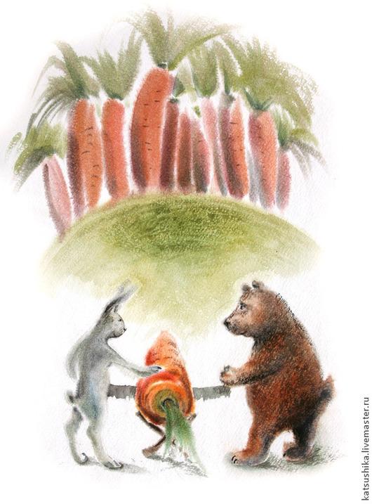 """Фантазийные сюжеты ручной работы. Ярмарка Мастеров - ручная работа. Купить Иллюстрация к сказкам Козлова """"В сладком морковном лесу"""". Handmade."""
