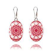 Украшения handmade. Livemaster - original item Pink and white earrings womens gift