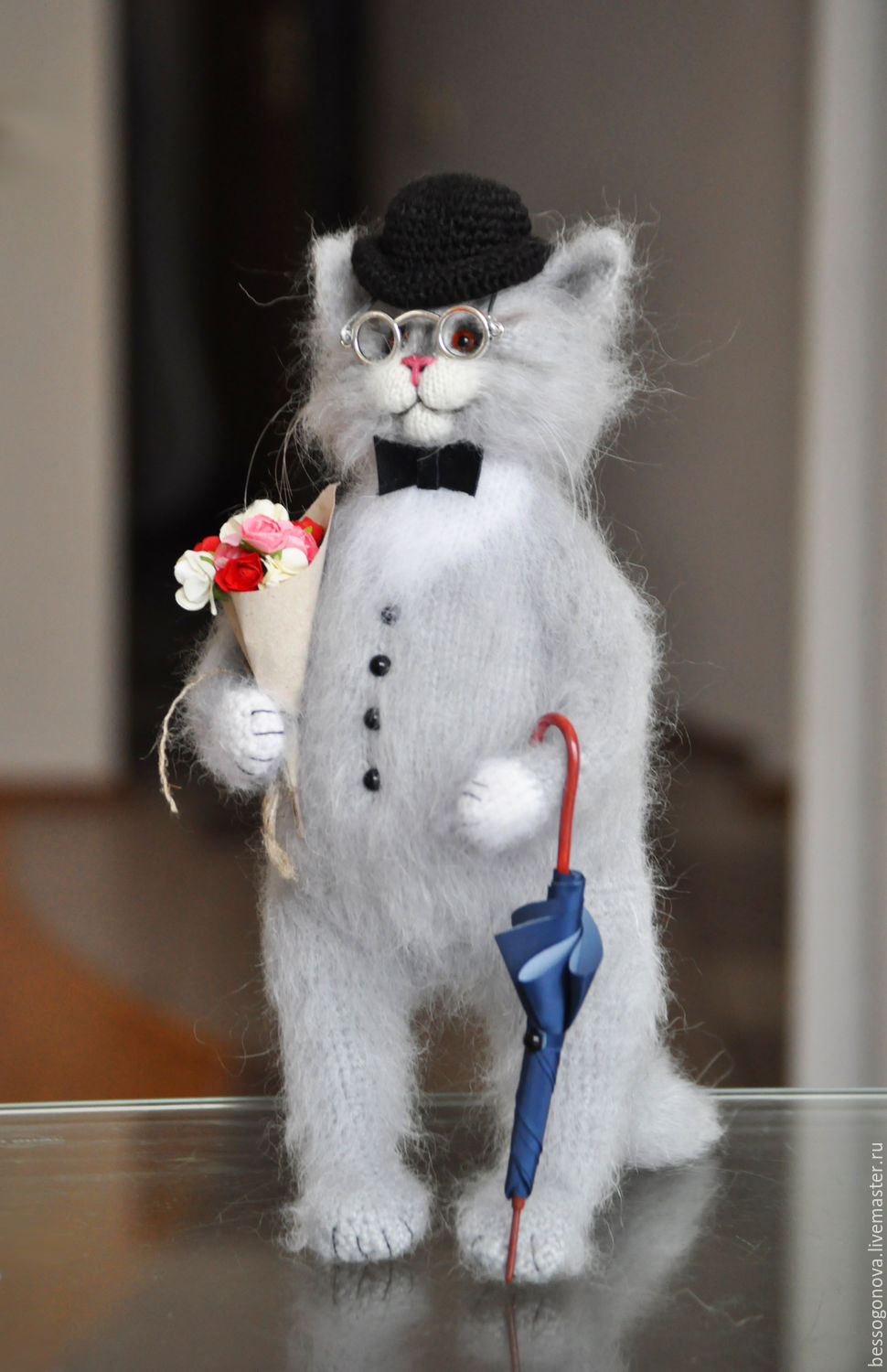 Author's toy is crocheted MR. CAT 23-30 cm(other size possible) is knitted and crocheted from natural wool and mohair, glass eyes. Inside the wire frame